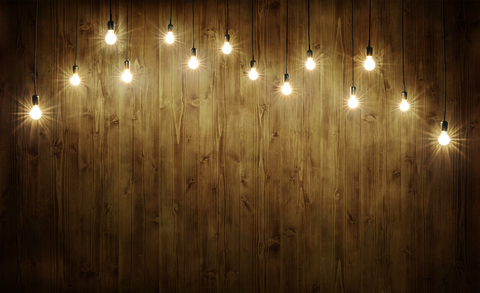 Lights on the Wooden Barn Board - Backdrop Shop
