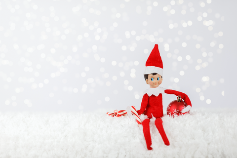 Snowing White Background Elf On The Shelf