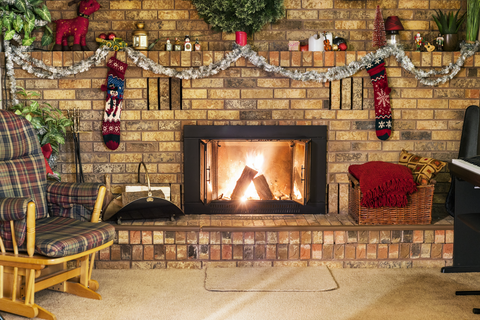 Christmas Brick Fireplace With Stockings - Backdrop Shop