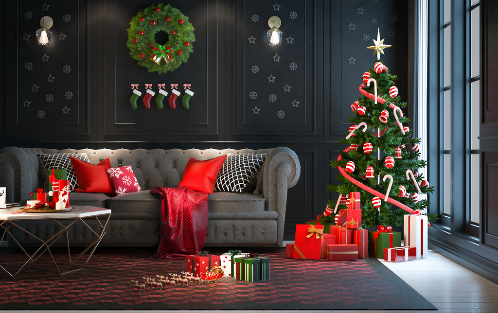 Christmas Gray Tone Living Room With Tree - Backdrop Shop