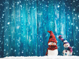 Little Knitted Snowmen On Soft Snow On Blue - Backdrop Shop