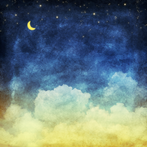Cloud And Sky At Night ,Yellow And Blue background - Backdrop Shop