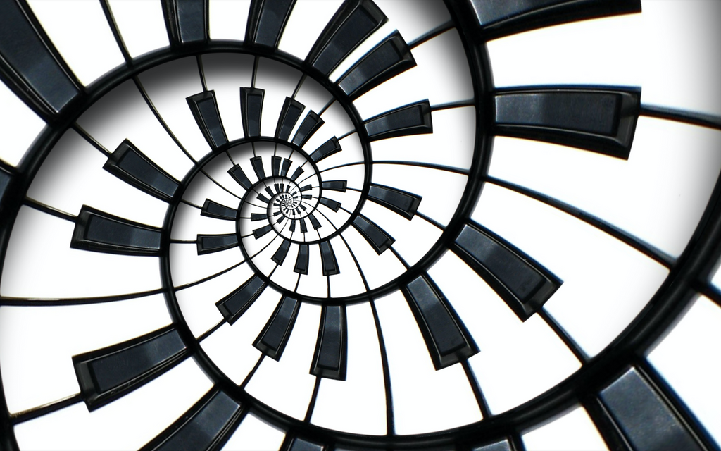 Abstract Piano Keyboard Spiral Background - Backdrop Shop