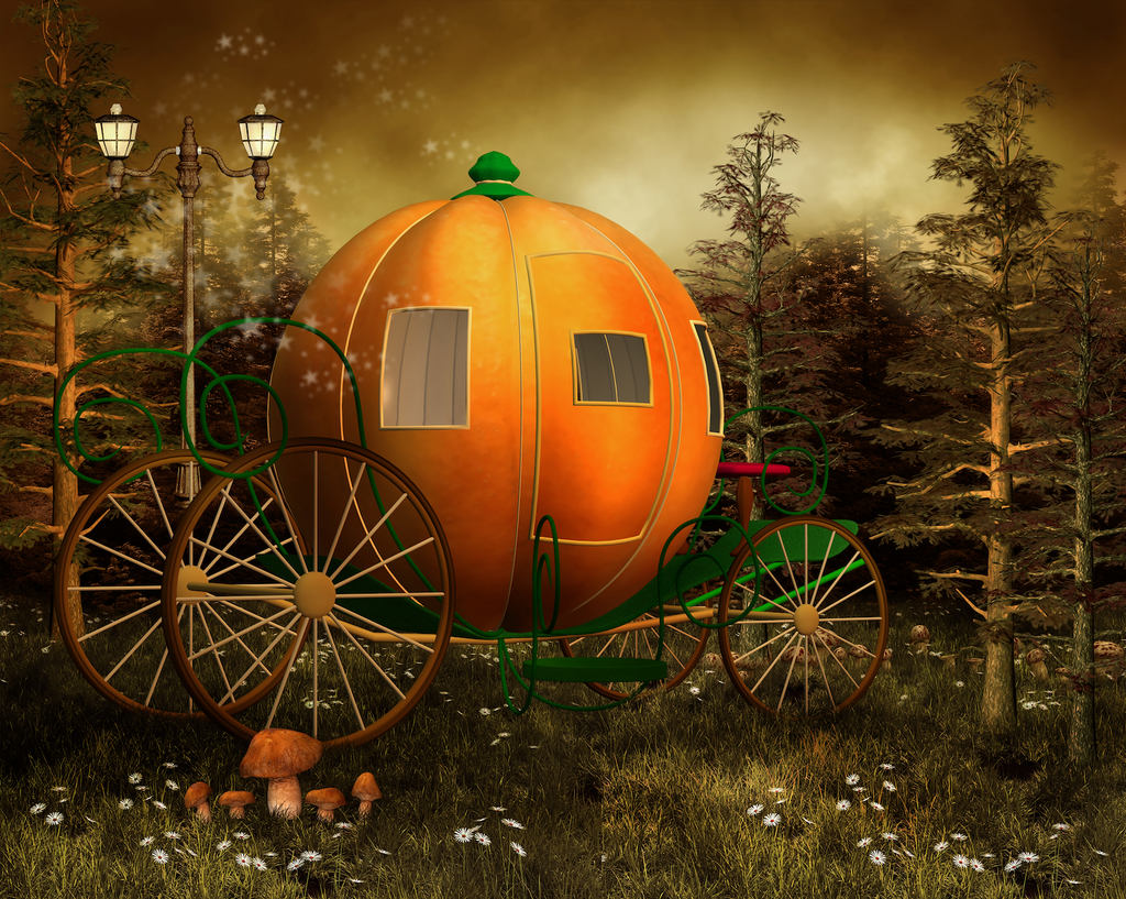 Pumpkin Carriage in a Forest - Backdrop Shop