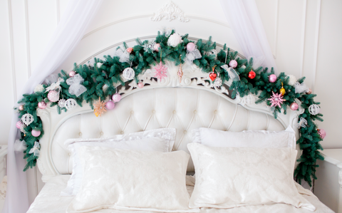 Bed Headboard With Christmas Decoration And Pines - Backdrop Shop