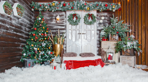 Decorated For Christmas In A Rustic Style - Backdrop Shop