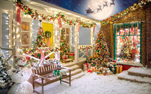 American Style Christmas House - Backdrop Shop