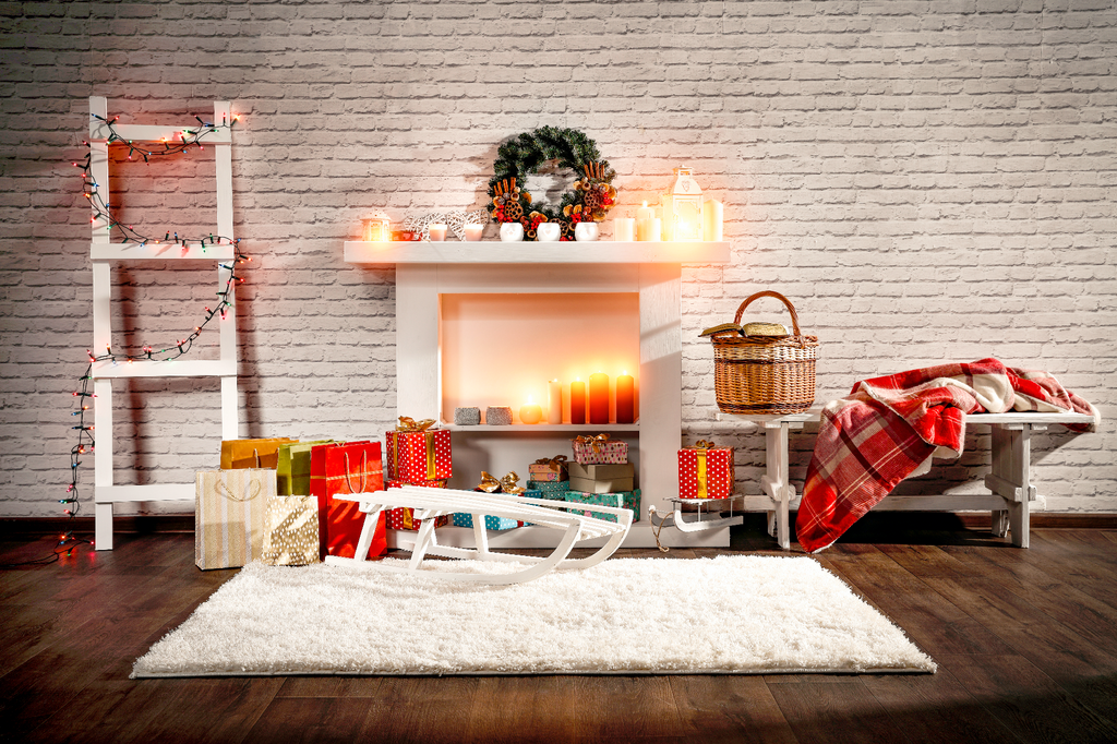 Warm Glowing Candle Christmas In Sitting Room - Backdrop Shop