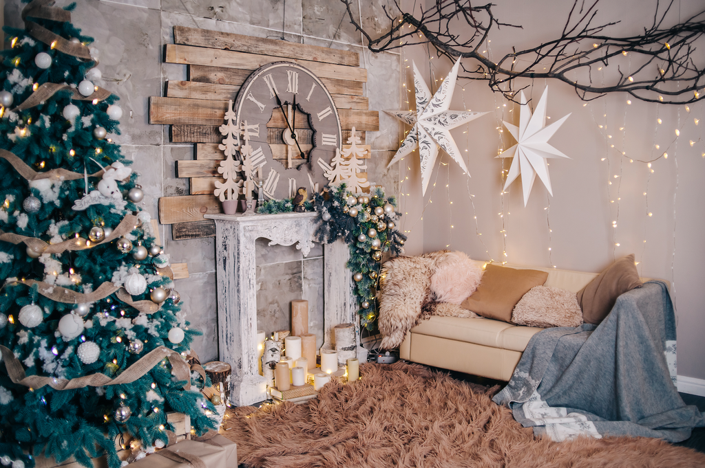 Decorated Rustic Christmas Living Room with a Big Clock - Backdrop Shop