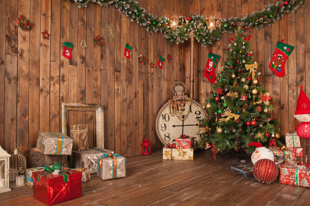 Christmas In The Wooden House - Backdrop Shop