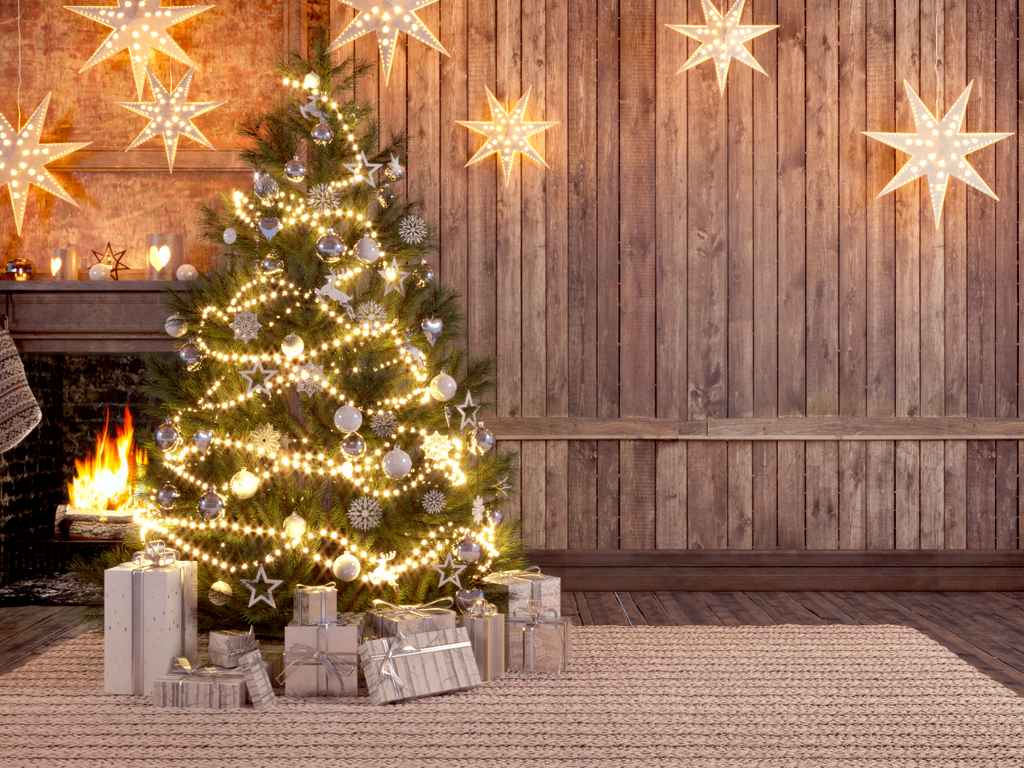 Twinkle Star Lights With Christmas Tree - Backdrop Shop