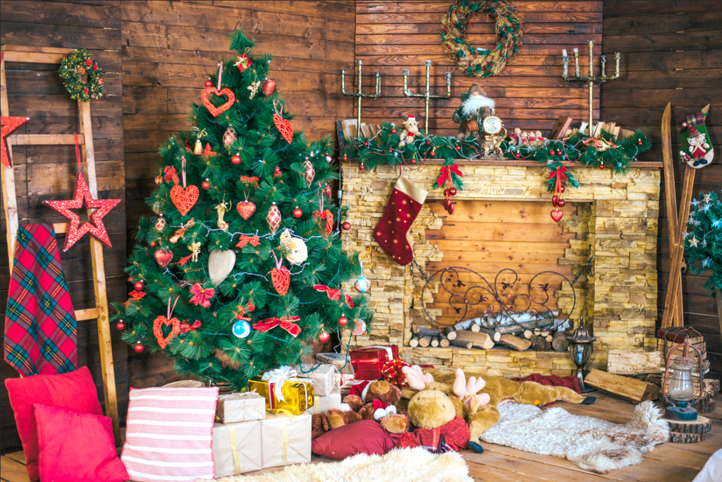 Traditional Christmas Wooden Room - Backdrop Shop