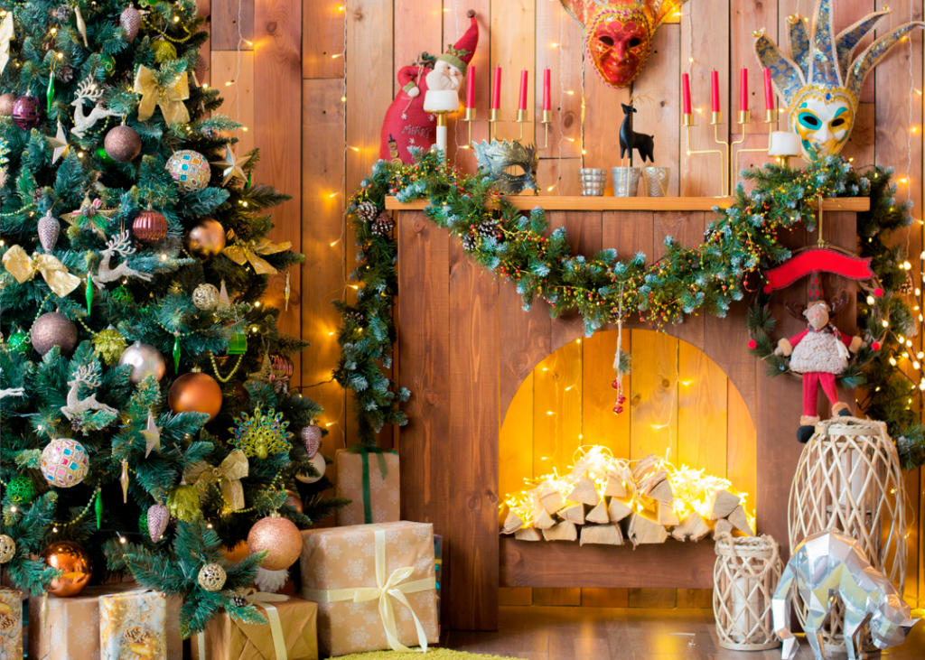 Wooden Wall Christmas Room - Backdrop Shop
