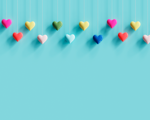 Colourful Hearts With Blue Background - Backdrop Shop