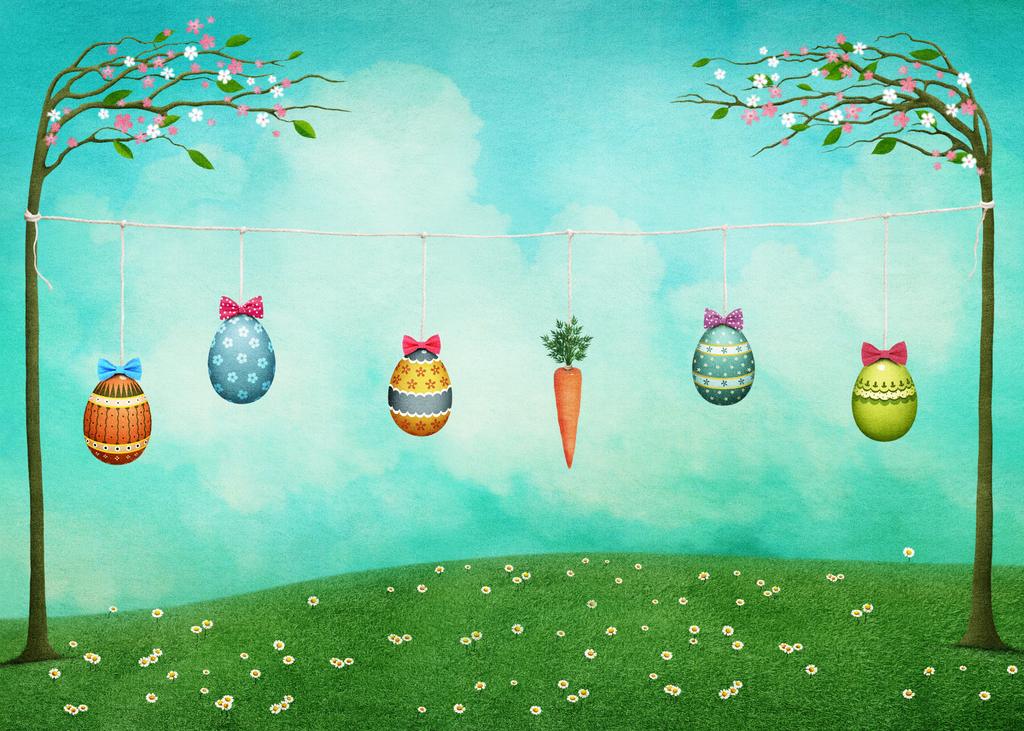 Easter Eggs & Carrot Hanging On The Trees - Backdrop Shop