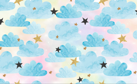 Unicorn Sky With Blue Clouds And Stars - Backdrop Shop