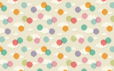 Balloons & Clouds - Backdrop Shop