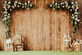 Rustic Board With Flowers - Backdrop Shop