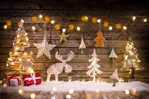 Wooden Wall With Christmas Decorations