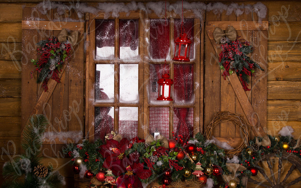 Wooden Christmas Window - Backdrop Shop