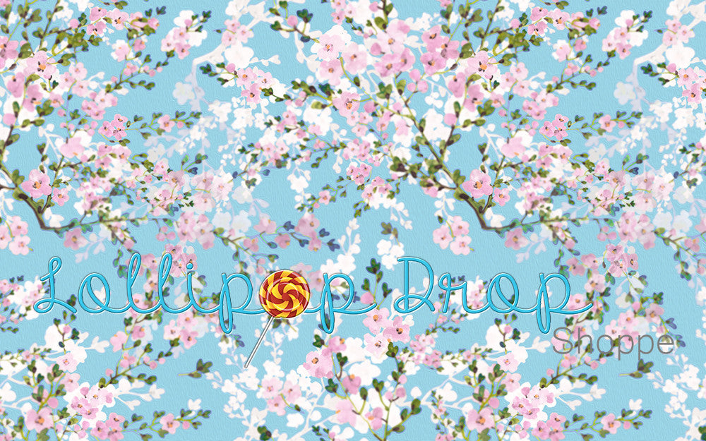 Aquamarine Flowers - Backdrop Shop