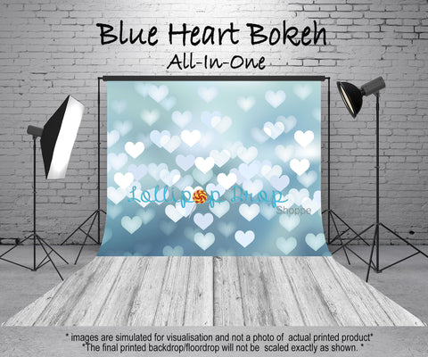 Blue Heart Bokeh - All in One - Backdrop Shop