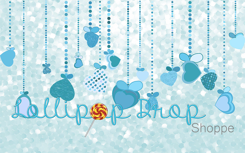 Blue Hanging Hearts - Backdrop Shop