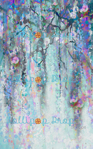 Blue Watercolour Vines - Backdrop Shop