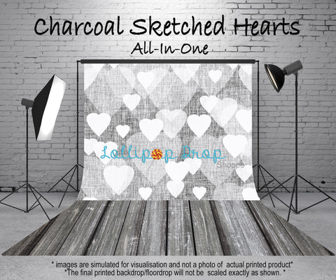 Charcoal Sketched Hearts - All in One - Backdrop Shop