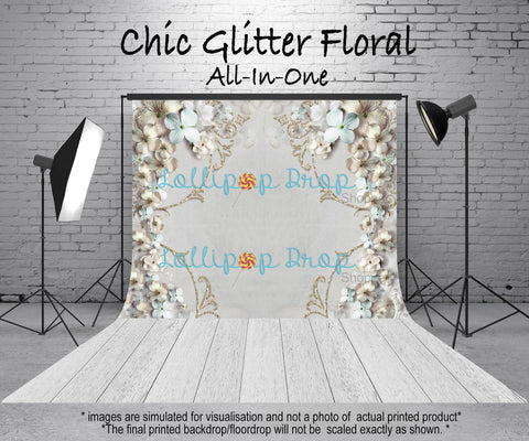 Chic Glitter Floral - All in One - Backdrop Shop