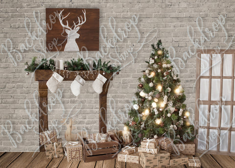 Brick Country Christmas - Backdrop Shop
