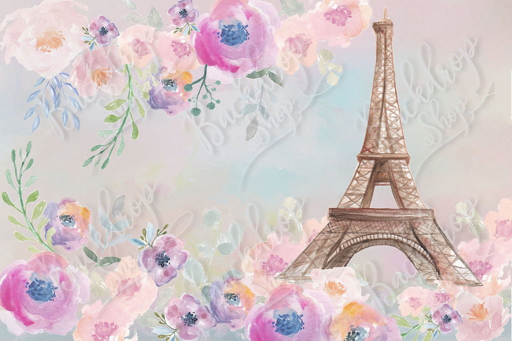 Eiffel Tower with Painted Flowers - Backdrop Shop