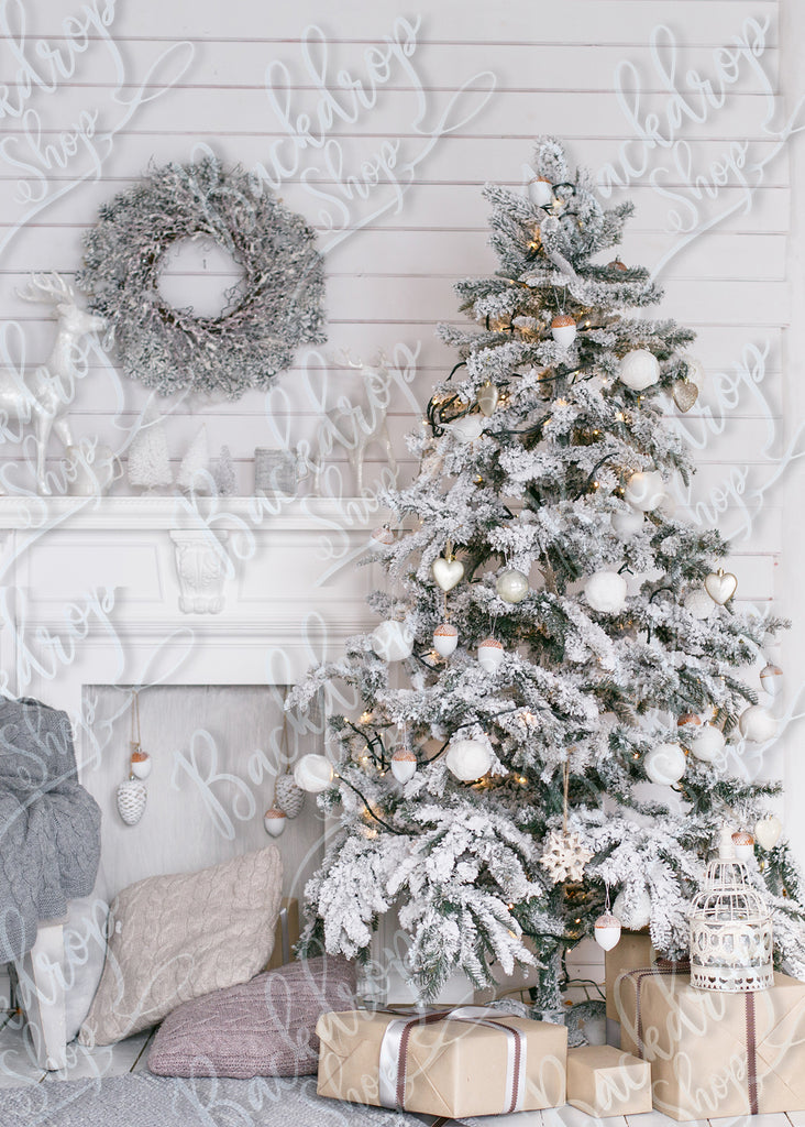 Frosted White Tree - Backdrop Shop