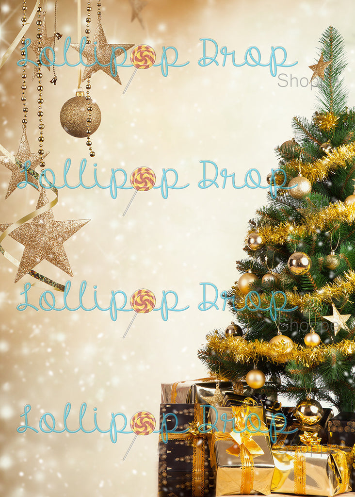Golden Trees and Gifts - Backdrop Shop