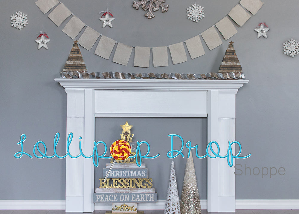 Grey Festive Fireplace - Backdrop Shop