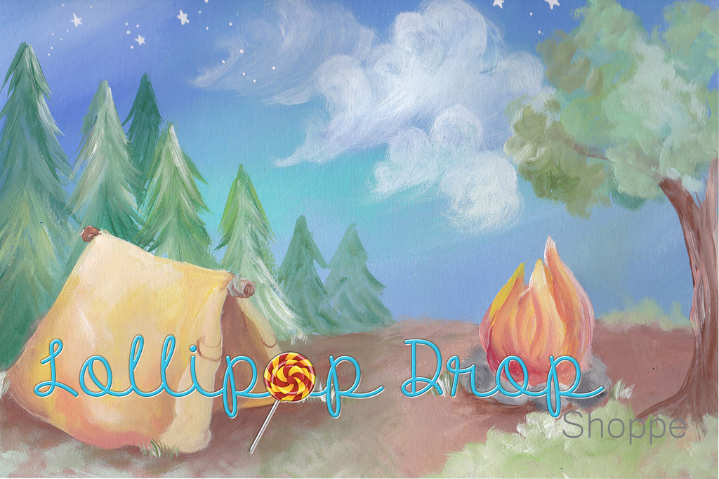 Painterly Camping Drop - Backdrop Shop