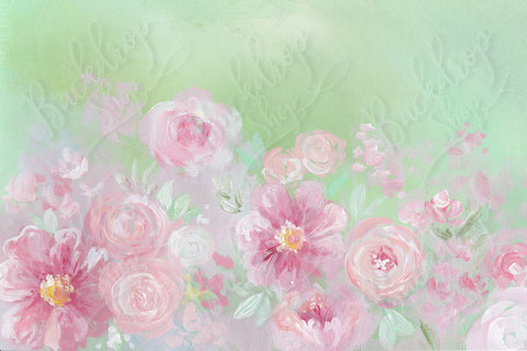 Painterly Pink Flowers