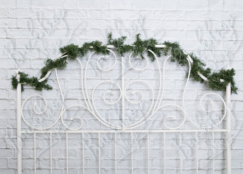 Simple White Headboard with Garland - Backdrop Shop