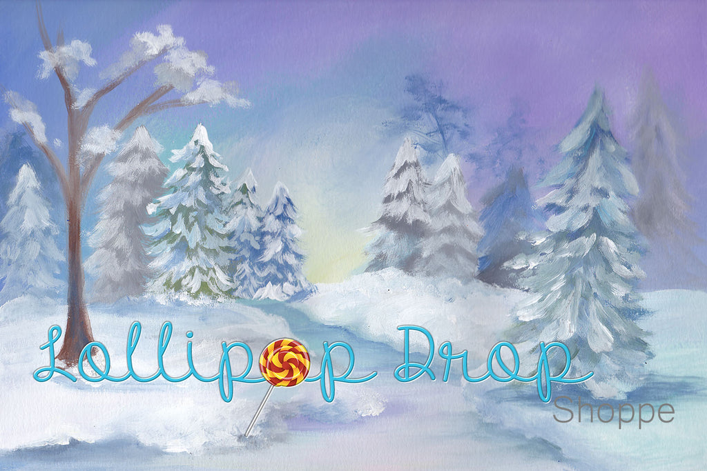 Snowy Winter Scene - Backdrop Shop