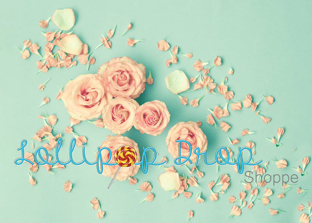 Teal Roses - Backdrop Shop