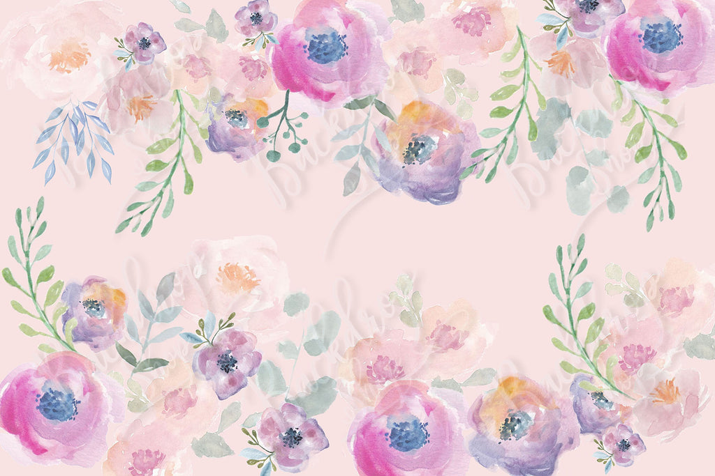 Watercolour Flowers with Pink Base - Backdrop Shop