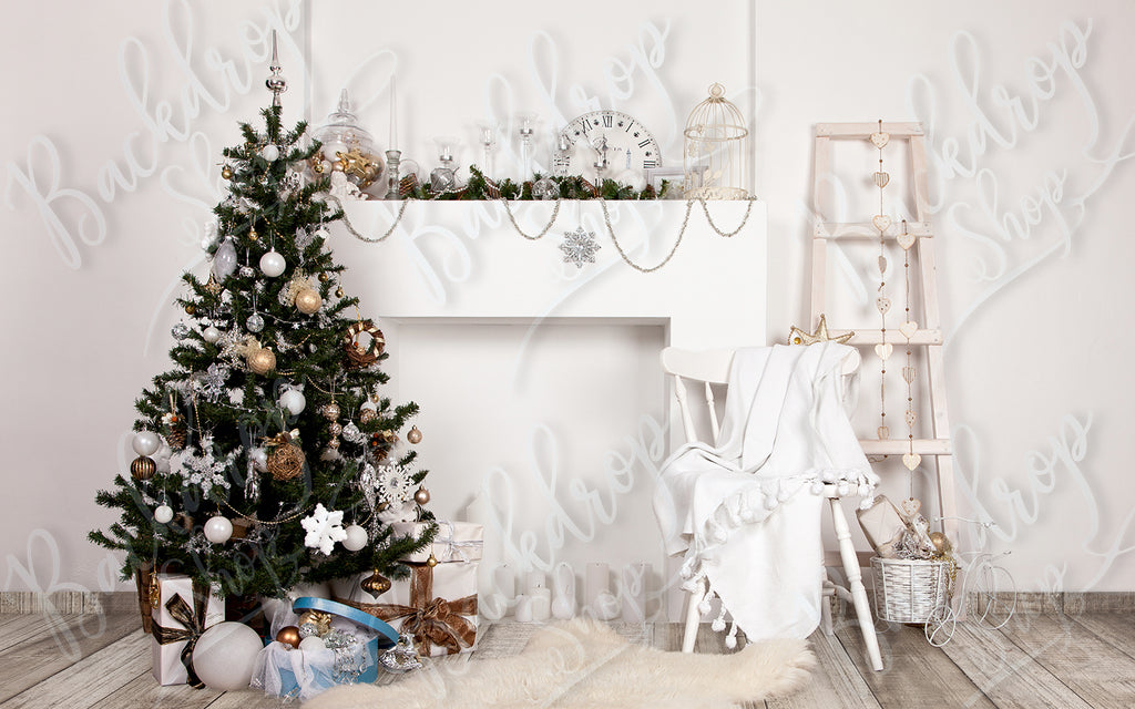 White and Silver Christmas - Backdrop Shop