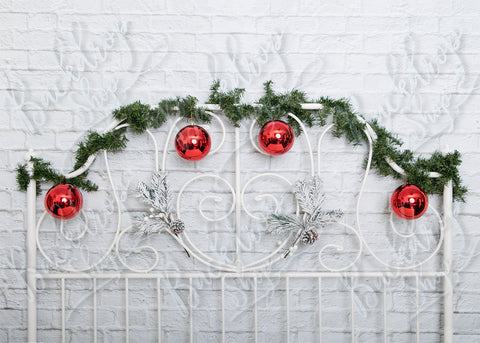 white headboard and garland - Backdrop Shop
