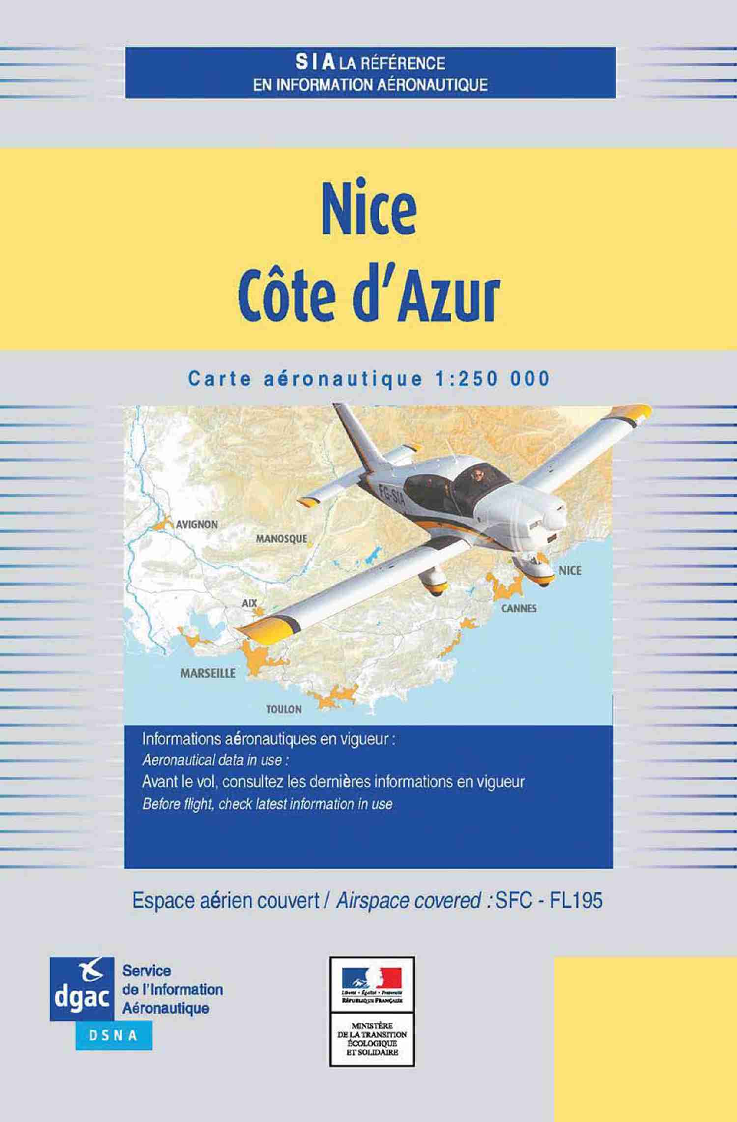 Carte Nice Côte d'Azur - 2020 - 1/250M DOCUMENTATIONS DU SIA SIA