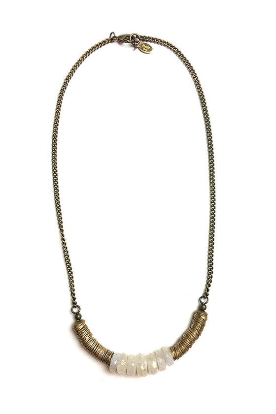 Brass Moonstone Necklace
