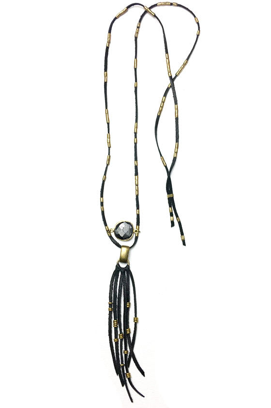 Onyx Gypsy Fringe Necklace