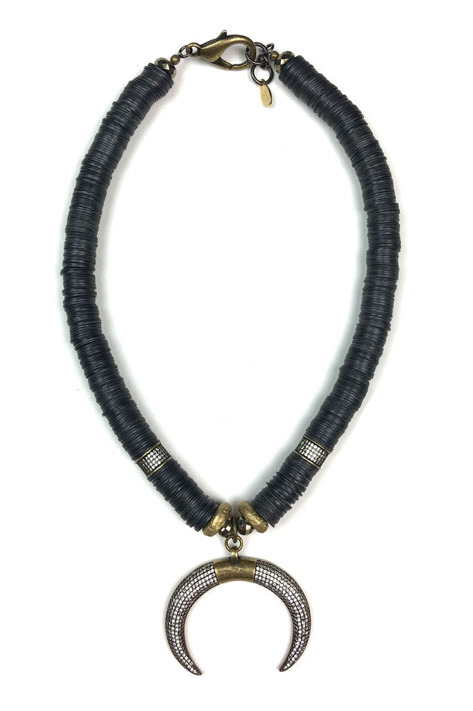 African Vinyl Crescent Necklace