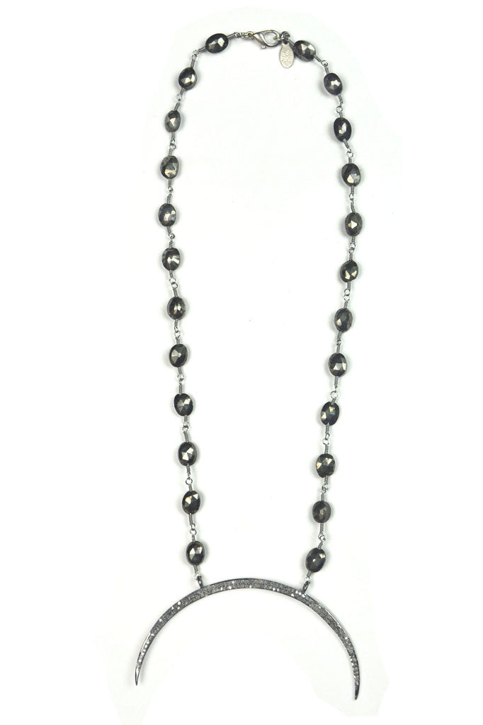 Diamond Cresent Moon Pyrite Necklace