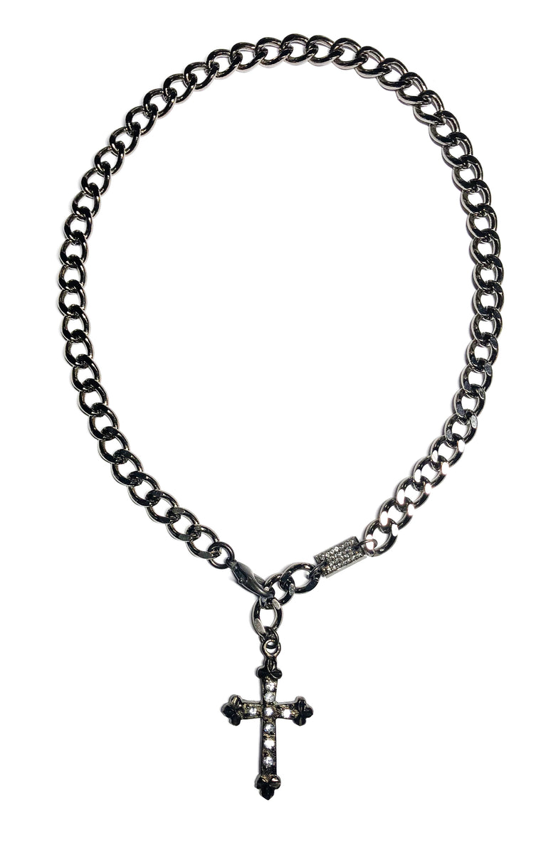 Gunmetal Cross Necklace