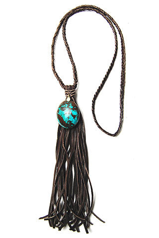 Turquoise Brown Leather Tassel Necklace